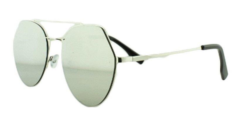 Óculos Solar Feminino K6185 Prata Espelhado