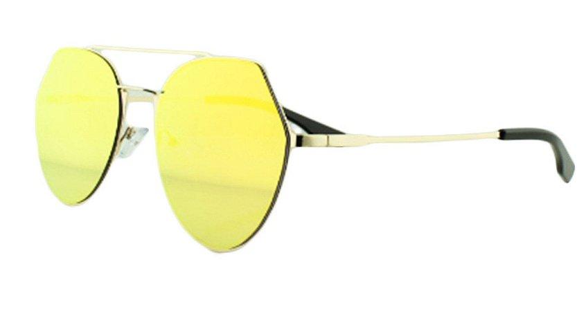 Óculos Solar Feminino K6185 Laranja Espelhado