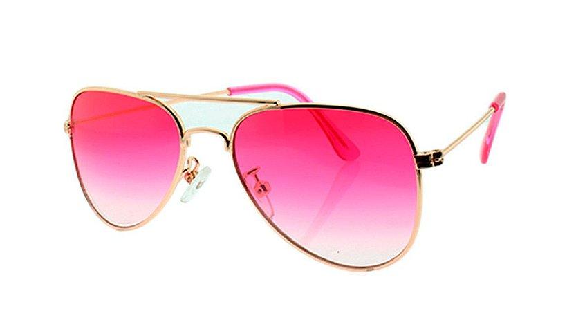 Óculos Solar Infantil Aviador Rosa Degradê