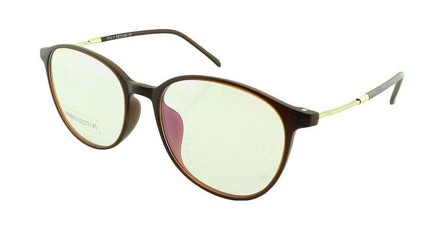 Armação para Óculos de Grau Unissex FR66003 Marrom Fosca