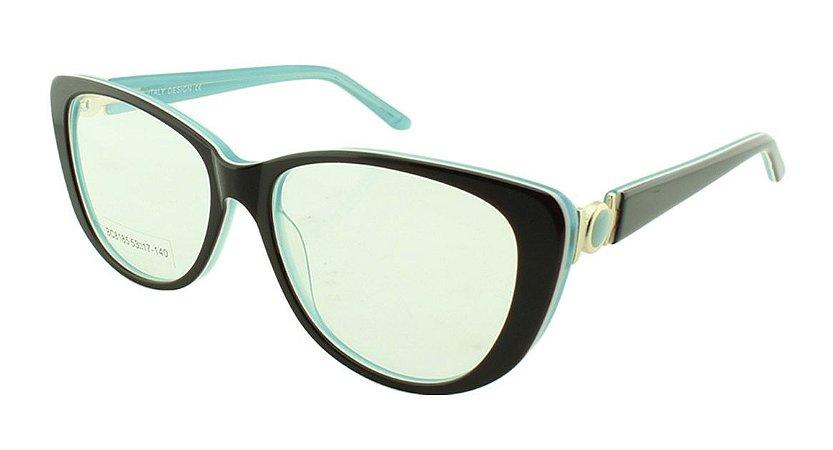 Armação para Óculos de Grau Feminino BC8185 Marrom com Turquesa
