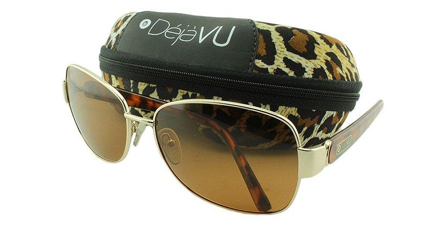Óculos Solar Feminino Polarizado 3129R Dourado com Estojo Déjàvu