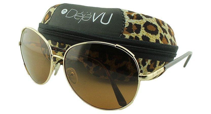 Óculos Solar Feminino Polarizado GT1785R Dourado com Estojo Déjàvu