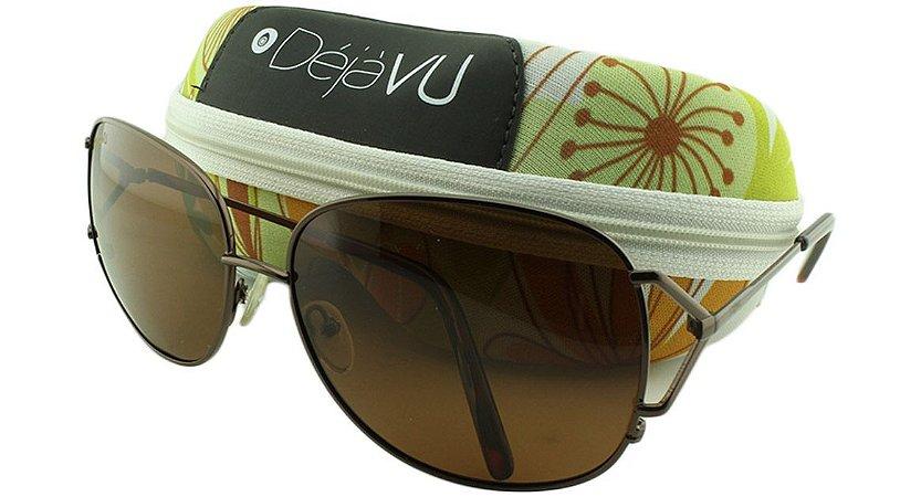 Óculos Solar Feminino Polarizado GT1316R Marrom com Estojo Déjàvu