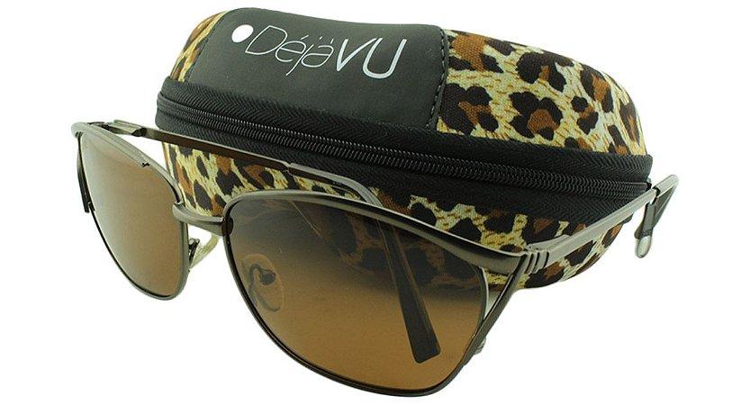Óculos Solar Feminino Polarizado T7942R Marrom com Estojo Déjàvu