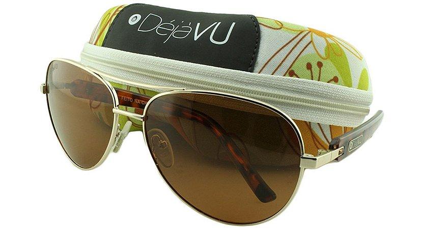 Óculos Solar Feminino Polarizado 3131R Dourado com Estojo Déjàvu