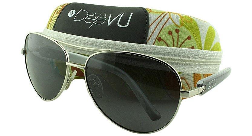 Óculos Solar Feminino Polarizado 3131R Prata com Estojo Déjàvu
