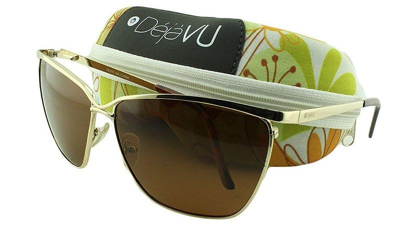 Óculos Solar Feminino Polarizado T6672R Dourado com Estojo Déjàvu