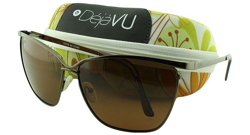 Óculos Solar Feminino Polarizado T6672R Marrom com Estojo Déjàvu