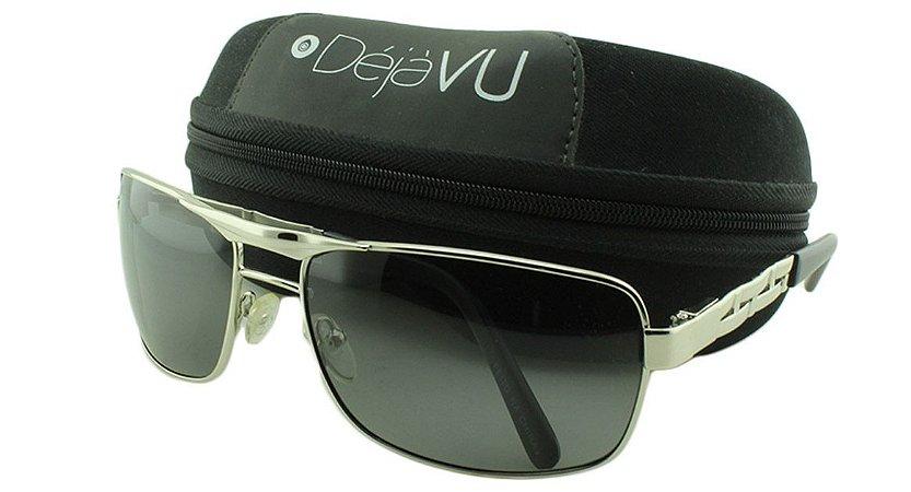 Óculos Solar Masculino Polarizado 20249R Prata com Estojo Déjàvu