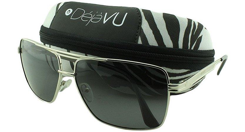 Óculos Solar Masculino Polarizado 20377R Prata com Estojo Déjàvu