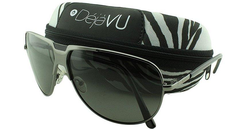 Óculos Solar Unissex Polarizado 1400R Prata com Estojo Déjàvu