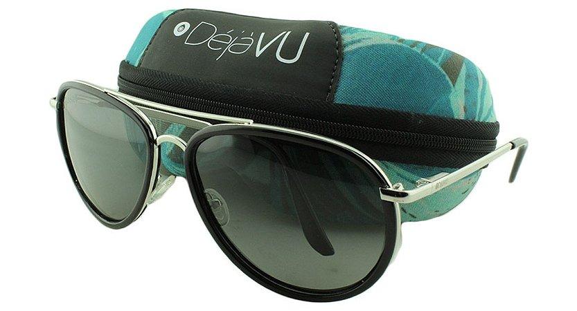Óculos Solar Unissex Polarizado 639R Prata com Estojo Déjàvu