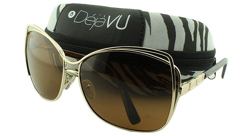 Óculos Solar Feminino Polarizado 20620R Dourado com Estojo Déjàvu