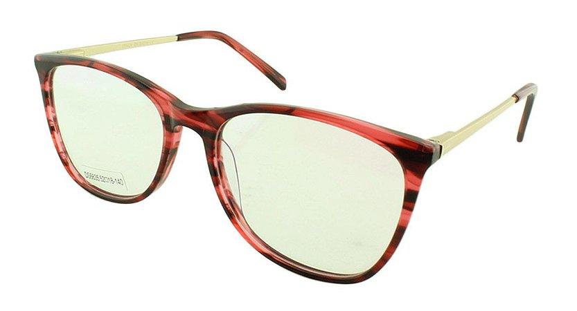 Armação para Óculos de Grau Feminino DS6635 Vermelha e Preta