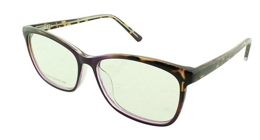 Armação para Óculos de Grau Feminino VC5204 Roxa e Marrom Onça