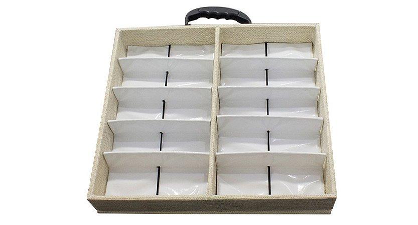 Maleta Expositora para 10 Óculos com Alça e Suporte MS210C Areia