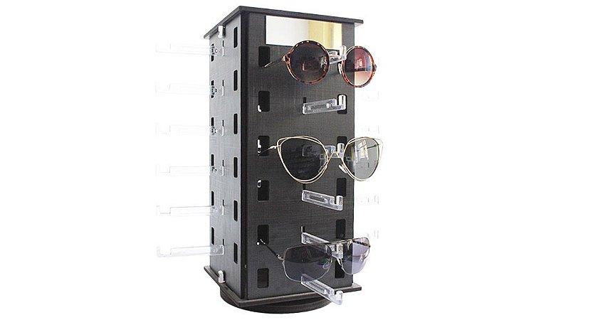 Expositor Giratório para 24 Óculos em MDF com Espelhos 24MDF Preto