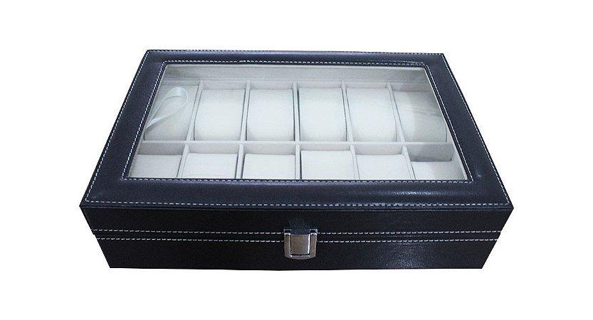 Caixa Expositora para 12 Relógios de Pulso BRX9912 Preta