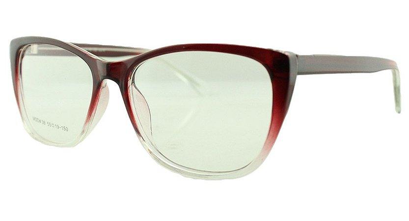 Armação para Óculos de Grau Feminino 36 Vinho e Transparente