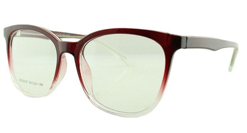 Armação para Óculos de Grau Feminino 37 Vinho e Transparente