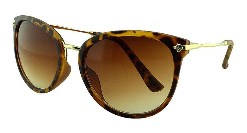 Óculos Solar Feminino Primeira Linha S5222 Marrom Onça