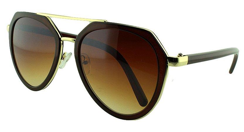 Óculos Solar Feminino Primeira Linha S30009 Marrom Degradê