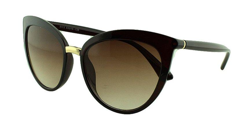 Óculos Solar Feminino Primeira Linha 6113 Marrom Degradê