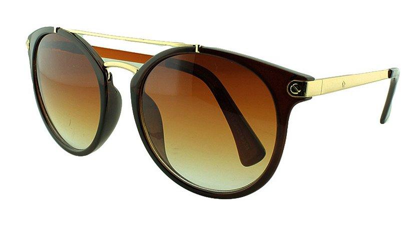 Óculos Solar Feminino Primeira Linha S1819 Marrom Degradê
