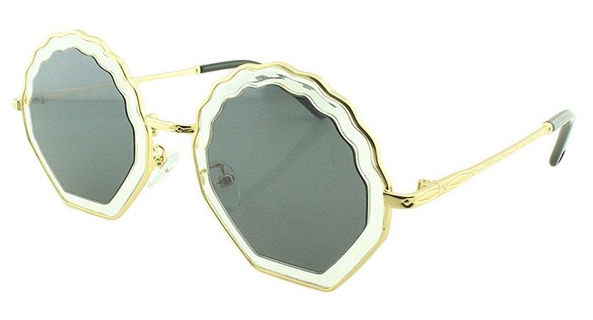 Óculos Solar Feminino Primeira Linha T25 Transparente e Dourado
