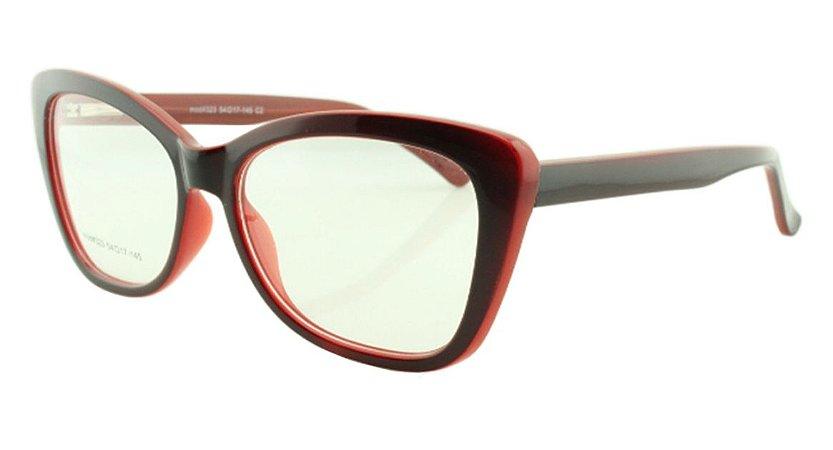Armação para Óculos de Grau Feminino 323A Preta e Vermelha
