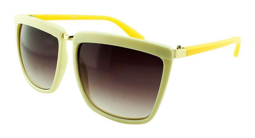 Óculos Solar Feminino Sortido D9063 Creme e Amarelo