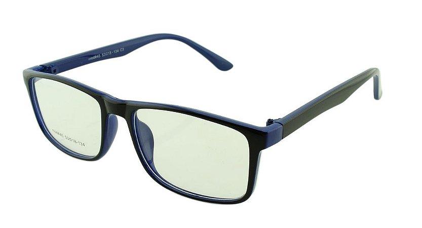 Armação para Óculos de Grau Masculino 45 Preta e Azul