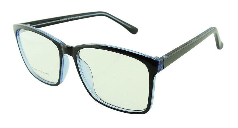 Armação para Óculos de Grau Masculino 52 Preta e Azul