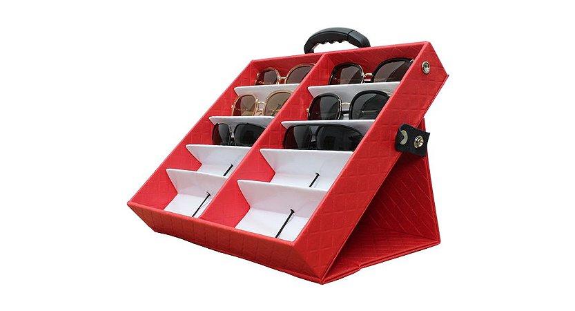 Maleta Expositora para 10 Óculos com Alça e Suporte MS210C Vermelha