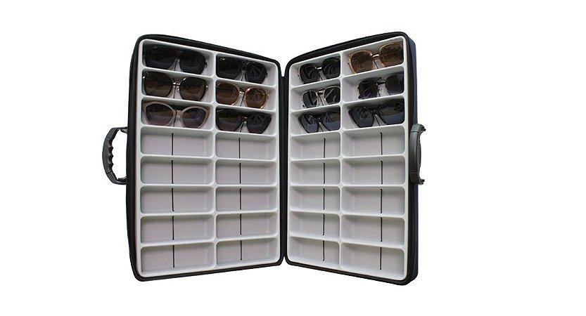 Maleta Expositora Dupla para 32 Óculos com Alça Regulável em EVA MALA EVA Azul