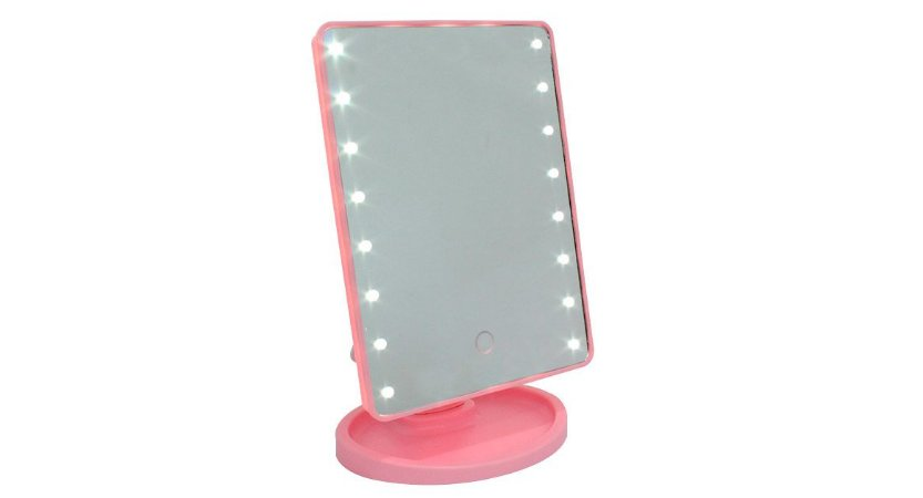 Espelho Retangular com 16 LEDS e Interruptor Smart Touch LED16 Rosa