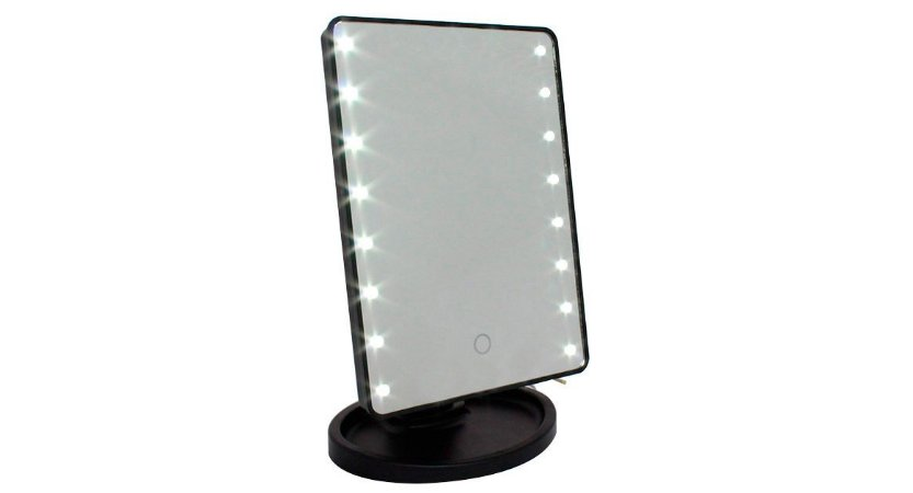Espelho Retangular com 16 LEDS e Interruptor Smart Touch LED16 Preto