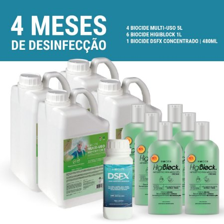 KIT 4 MESES DESINFECÇÃO TOTAL ESTABELECIMENTOS BIOCIDE - 4 MULTI-USO 5L + 6 HIGIBLOCK. 1L + 1 DSFX 480ML
