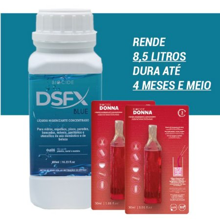 KIT 1 DSFX BLUE CONCENTRADO LIMPADOR DESINFETANTE 480ML+ 2 DONNAS 30ml