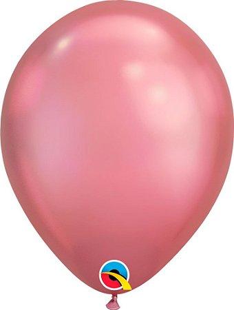 Balão Bexiga Látex Chrome Rosa Malva 11 Polegadas c/10 unida