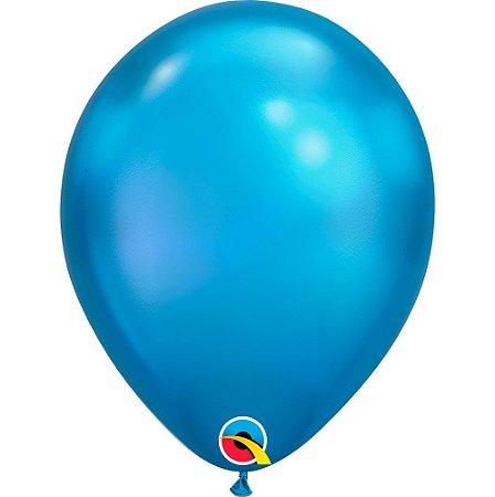 Balão Bexiga Látex Chrome Azul 11 Polegadas c/10 unidades