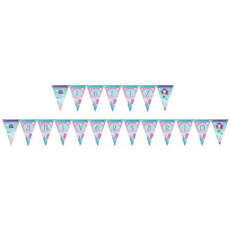 Faixa Feliz Aniversário Decoração Festa Tema Sereia c/ 1 uni