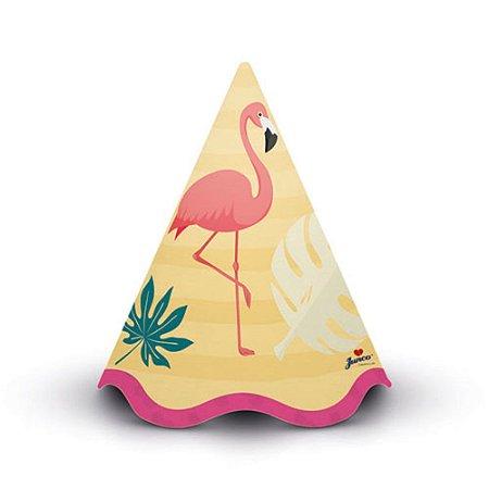 Chapéu Cone Decoração Festa Tema Flamingo c/ 8