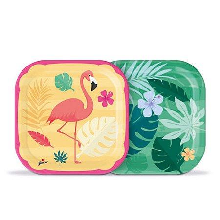 Prato Descartável Decoração Festa Tema Flamingo c/ 8