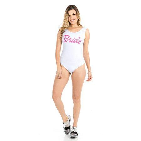 Body Summer Branco Bride Com Letras Pink - Despedida de Solteira