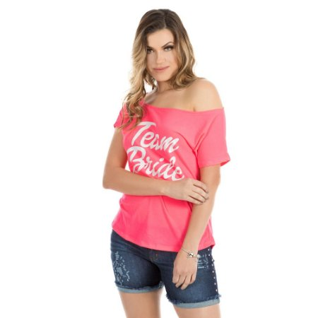 Blusa Camiseta Rosa Team Bride Despedida de Solteira