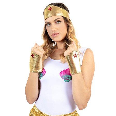 Kit Carnaval Fantasia Mulher Maravilha