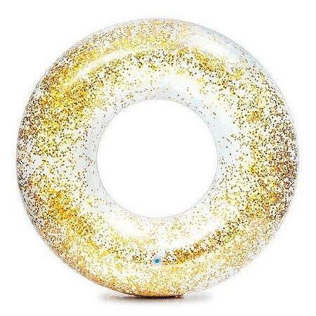 Boia Transparente Redonda Circular Com Glitter Amarela 90cm