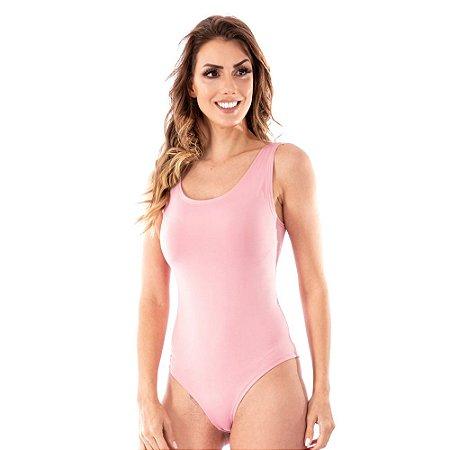 Body Feminino Maiô Decotado Suplex Liso Ginástica Rosa